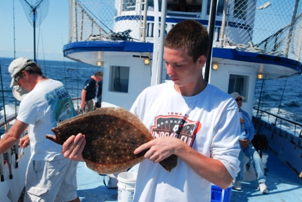 Under New York's fluke regulations in 2013, this pretty fluke was a short and had to be returned to the water. With a new minimum size limit of 18 inches in 2014, a fish this size will likely be a keeper.