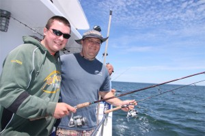 Here's club advisor Bob Wilson, right, enjoying some quality fishing time with angler Sean Walters. Note the light spinning sticks.