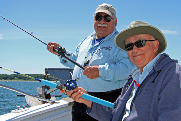You've got to love these guys! That's Al Goldberg on the left, and Captain Neil Faulkner on the right. These rod-builders extraordinaire donated their time over the winter to help members of the Ward Melville High School Fishing Club build their own custom outfits. Both enjoyed watching the students put their new outfits to the  test on Sunday's club trip aboard the Port Jefferson open boat Celtic Quest.